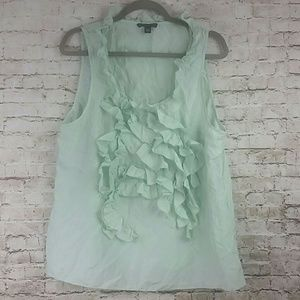 Banana republic xl top 100% silk w ruffle green